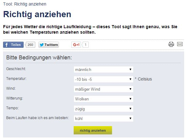 Screenshot Tool Laufkleidung