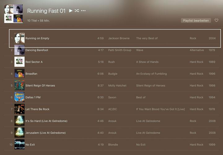 Screenshot Playlist iTunes mit Running on Emoty von Jackson Browne an erster Stelle