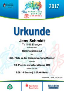 Urkunde Halbmarathon Fränkische Schweiz