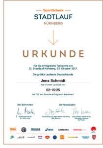 Urkunde Stadtlauf Nürnberg 2017