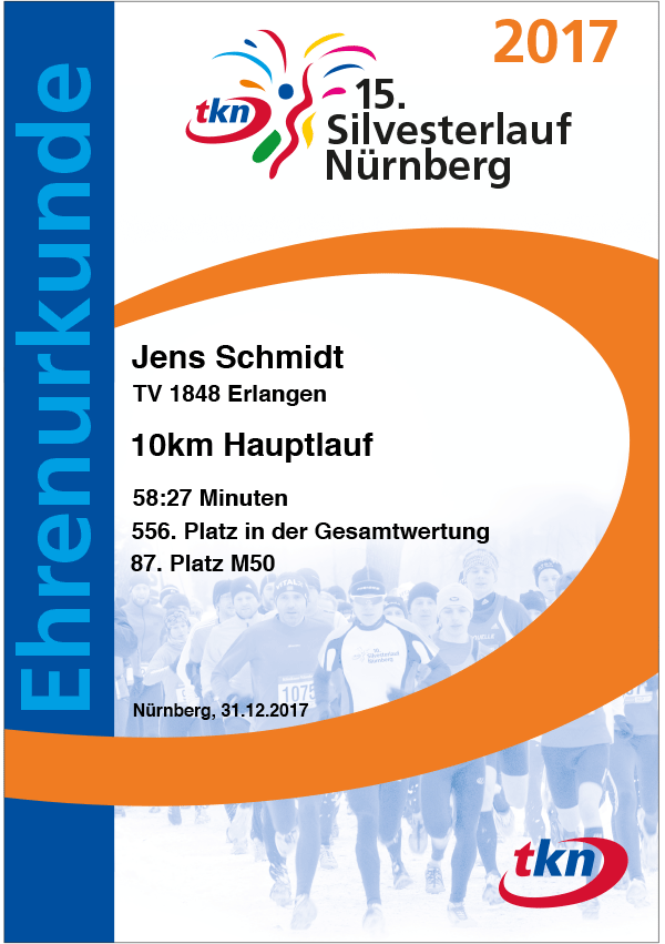 Urkunde Silvesterlauf 2017