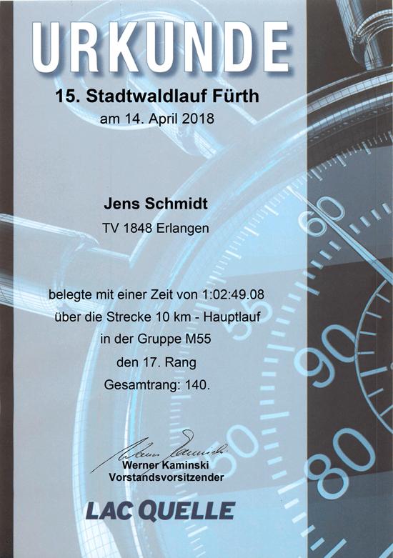Urkunde Stadtwaldlauf