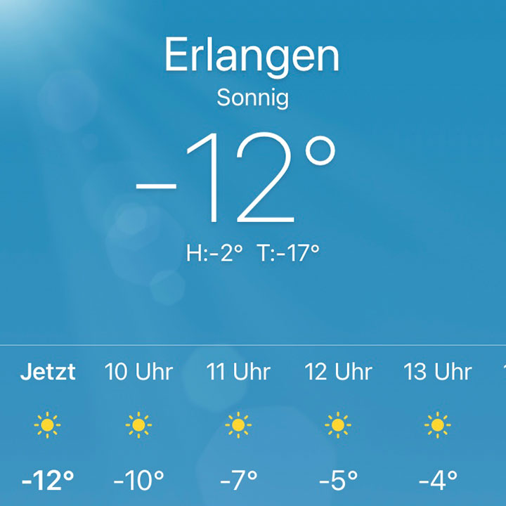 Temperaturanzeige -12 Grad